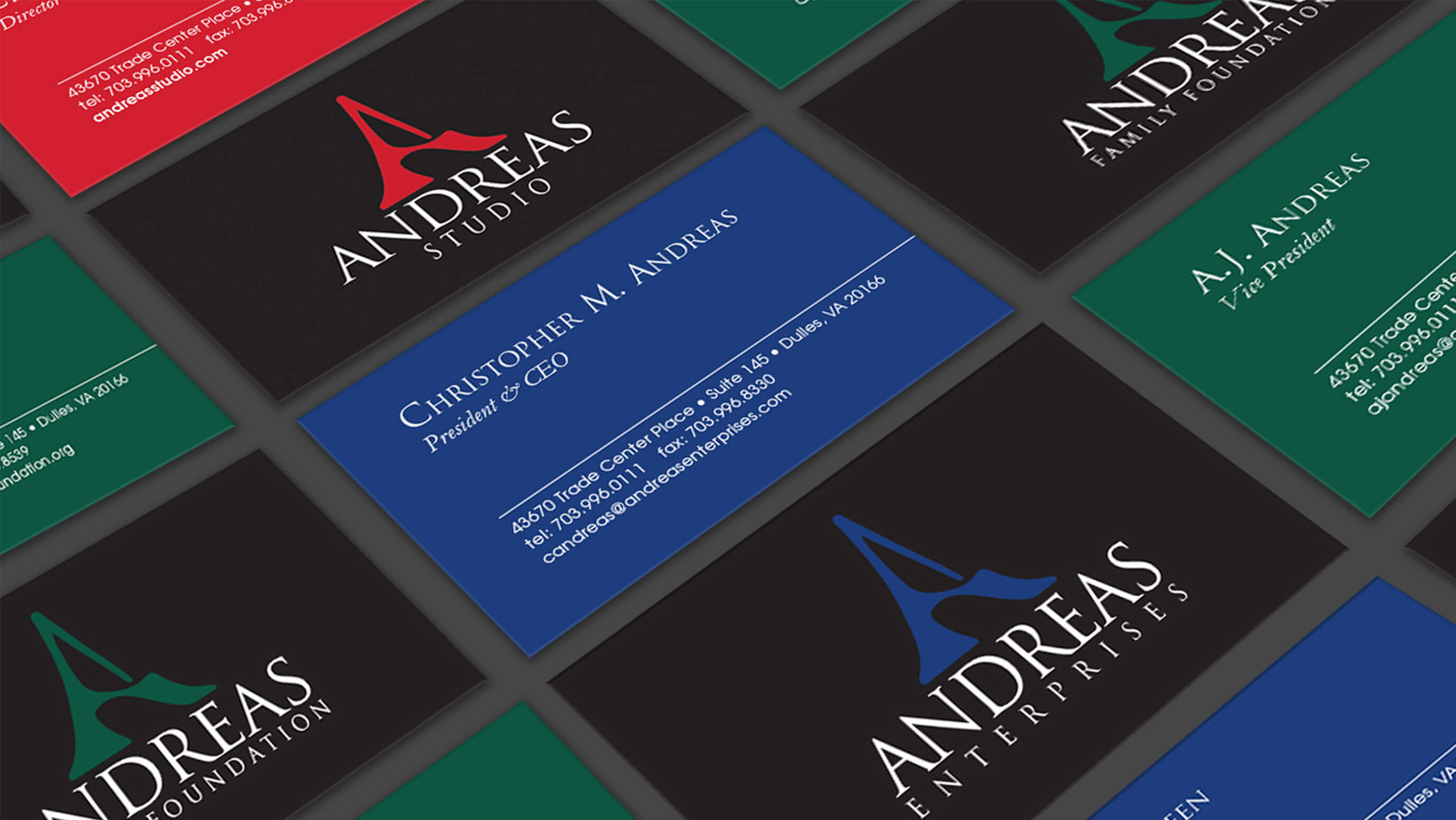 Branding & Collateral System Design Andreas Enterprises, Andreas Studio, Andreas Foundation